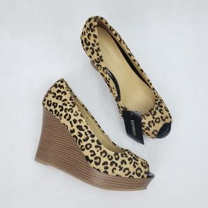 NWT Express Calf Hair Leopard Wedge Pin Up Heel